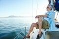 Sitting on boat man Royalty Free Stock Photo
