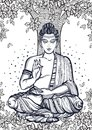 Sitting Buddha over the Bodhi Tree. Graphic high-quality vector illustration. Spiritual and religious motives.