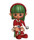 Sitting christmas elf Stock Image