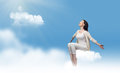 Sitting on a cloud Royalty Free Stock Photo