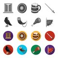 Sitting crow, horn with drink, ham, victory flag. Vikings set collection icons in monochrome,flat style vector symbol