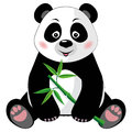 Sitting cute panda with bamboo isolated on white b little green background vector illustration eps no transparency Royalty Free Stock Image