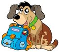 Sitting dog with school bag Royalty Free Stock Images