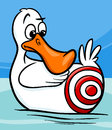 Sitting duck saying cartoon illustration humor concept of or proverb Stock Photos