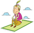 Sitting on flying carpet Stock Photos