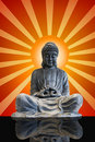 Sitting Full Body Bronze Buddha with Sun Rays Royalty Free Stock Images