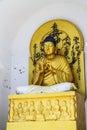 Sitting golden Buddha-Shanti stupa,Ladakh,India