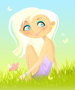 Sitting on a grass vector illustration of girl with flower Royalty Free Stock Photography
