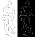 Sitting man sketch of a Royalty Free Stock Photos