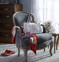 Sitting room chair with a ladies accessories daylight coming in from window Royalty Free Stock Images
