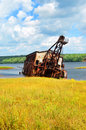 Sitting shallows torch lake copper reclamation dredge sits rusting abandoned Stock Image