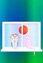 Sitting in silence waiting for spring girl and cat are on the window looking thoughtful Royalty Free Stock Image