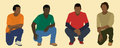 Sitting teens four black african american or young men in a seated position Royalty Free Stock Photo
