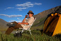 Sitting tourist Royalty Free Stock Photography