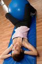 Situps with a Pilates Ball Royalty Free Stock Photo