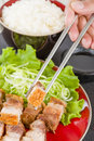 Siu yuk chinese crispy roast pork belly served with steamed rice Royalty Free Stock Photos
