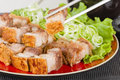 Siu yuk chinese crispy roast pork belly served on top of steamed rice Royalty Free Stock Photos