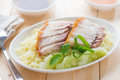 Siu yuk rice or sliced chinese boneless roast pork with crispy skin serve with steamed hong kong chinese cuisine Royalty Free Stock Photos