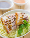 Siu yuk or sliced chinese boneless roast pork with crispy skin serve steamed rice singapore cuisine Royalty Free Stock Image