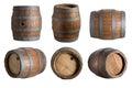 Six angle wood barrels Royalty Free Stock Photo