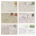 Six antique handwritten Postcards Stock Photo