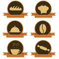 Six bakery icons different with a ribbon Stock Image