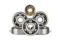 Six ball bearings on a white background Royalty Free Stock Image