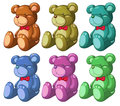 Six bears illustration of the on a white background Royalty Free Stock Photography