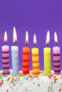 Six birthday candles Stock Photography