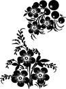 Six black flower design Royalty Free Stock Photo