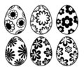 Six Black and White Easter Day Eggs Floral Stock Photo