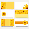 Six business cards with gerbera flowers set of modern orange and yellow Royalty Free Stock Photography