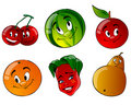 Six cartoon fruit Royalty Free Stock Photo