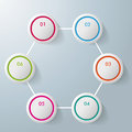 Six circles hexagon infographic design colorful on the grey background eps file Royalty Free Stock Images