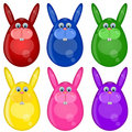 Six Colored Happy Easter Bunny Eggs Royalty Free Stock Image