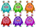 Six colorful aliens illustration of the on a white background Royalty Free Stock Photo