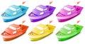 Six colorful boats