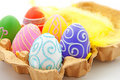 Six colorful easter eggs in box Royalty Free Stock Photo