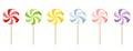 Six colorful lollipops.