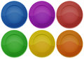 Six colorful round plates illustration of the on a white background Royalty Free Stock Image