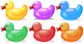 Six colorful rubber ducks illustration of the on a white background Stock Photo
