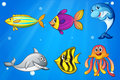Six colorful smiling fishes under the sea illustration of Royalty Free Stock Photography
