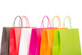 Six colourful shopping bags on white background Stock Photos