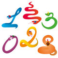 Six crazy snakes Royalty Free Stock Images