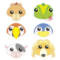 Six cute cartoon animal head icons Stock Image
