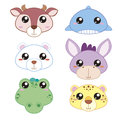 Six cute cartoon animal head icons Royalty Free Stock Images