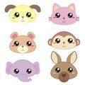 Six Cute Cartoon Animal Head