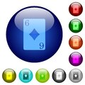 Six of diamonds card color glass buttons Royalty Free Stock Photo