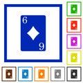 Six of diamonds card flat framed icons Royalty Free Stock Photo