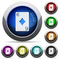Six of diamonds card round glossy buttons Royalty Free Stock Photo